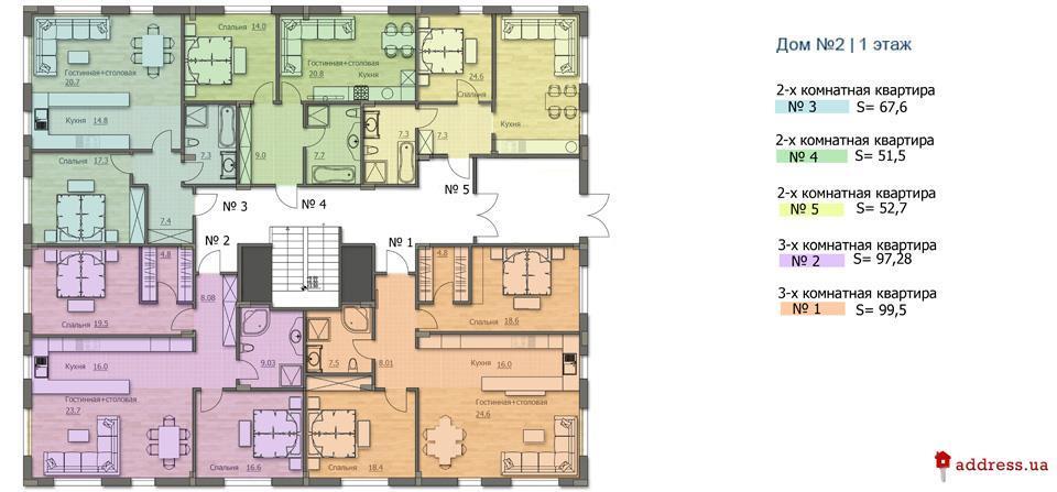 ЖК «Бирюза»: План дома №2
