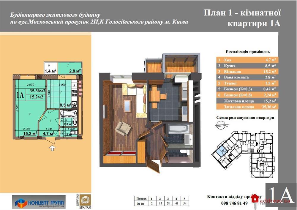 ЖК Concept Holl 2: 1 комнатные