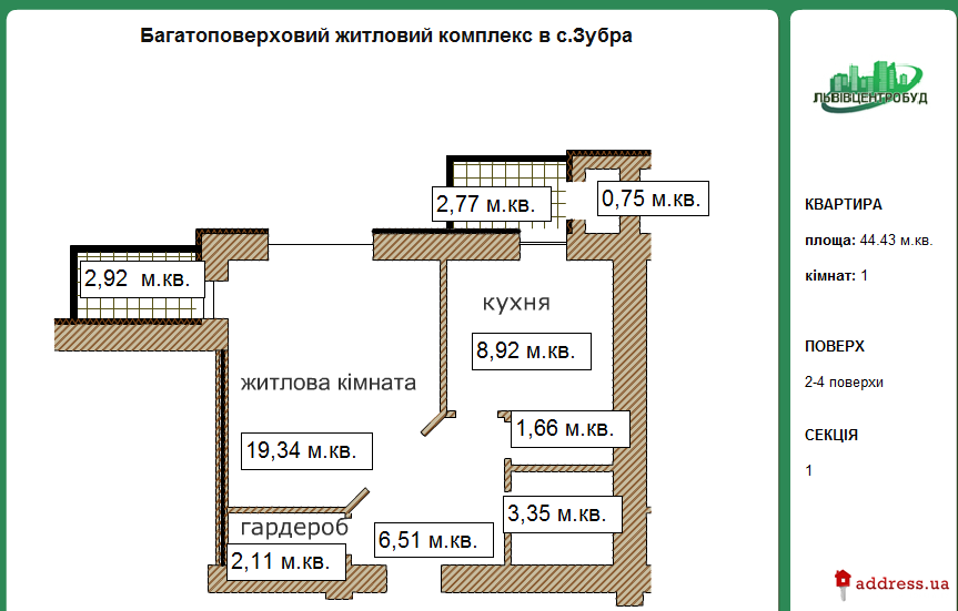 ЖК в с. Зубра: Однокомнатные